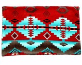 Baby Blanket - Navajo Indian Native American Red and Turquoise Indian Print -Brown Minky