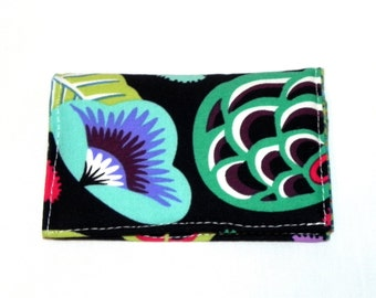 Business Card Holder - Floral in green, pink, teal and black