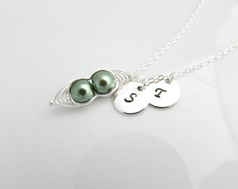 Pea Pod Necklace, Bridesmaid Necklace, Girl Gifts, UK Seller, Bridesmaid Gifts, Two Peas in a Pod, Green Pea Pod Necklace, Twin Jewelry Gift