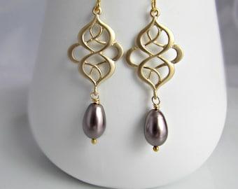 Pearl Earrings, Filigree Gold Earrings, Bridesmaid Earrings, Purple Pearl Earrings, UK Seller, Gift for Girls, Bridesmaid Gift, Pearl Drops