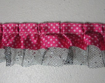 Rose & White Polka Dot, Black,  Silver Two Layer Ruffled Lace . 1 1/2 Inch . One Yard . Item No. L090