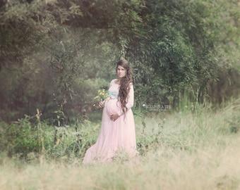 Maternity dress,Maternity gown,long sleeve dress,Camille gown,pink dress,baby shower dress,dress for photo shoot,wedding dress,