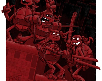 Teenage Mutant Ninja Turtles Silkscreen Poster by Ian Glaubinger inspired by TMNT