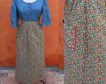 Vintage Women's Long Waist Apron. Maxi Apron. Floral. Prairie Colonial Costume. OS. Floor length apron. Octoberfest Oktoberfest costume
