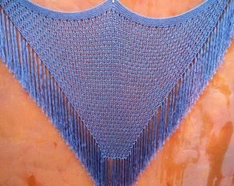 Vintage Periwinkle Blue Crochet Piano Shawl Cape with fringe Boho gypsy Coachella Festival hippie Bohemian Wrap duster