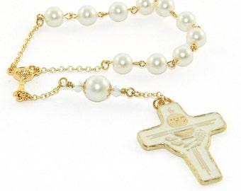 1st Holy Communion Pocket Rosary, White Swarovski® Pearls & First Communion Cross