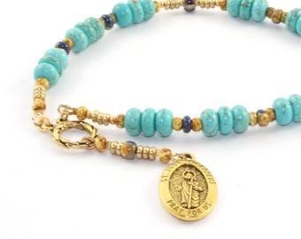 Saint Jude Chaplet, Patron Saint of Hopeless Causes, Turquoise Beads
