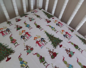Dr Seuss GRINCH Whoville Holiday Xmas Christmas crib/toddler fitted sheet sewn by me