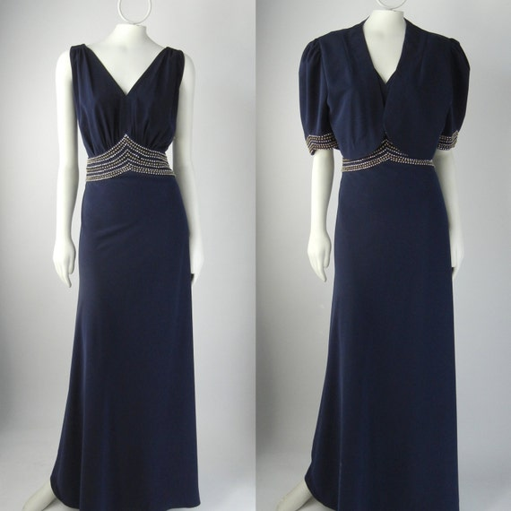 1930s Style Dress 1930s Style Gown 1930s Blue Dress Art