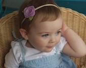 Medium Rose Headband - Felt Rose on Nylon Headband - Fits Newborn through Big Kid