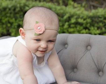 Wool Felt Rose Headband - Nylon Headband - One Size Fits All - Faux Pearl Center - Peach, Blush, Grapefruit