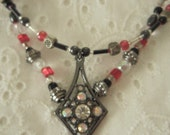 Black, Red and Crystal Necklace