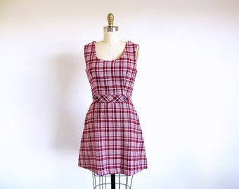 Vintage 60s Mod Mini Dress, Short Plaid Jumper, Sleeveless Mini Dress, 1960 Cranberry Dress