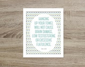 Hang Up Your Towel Funny Bathroom Art Print Typographic Poster