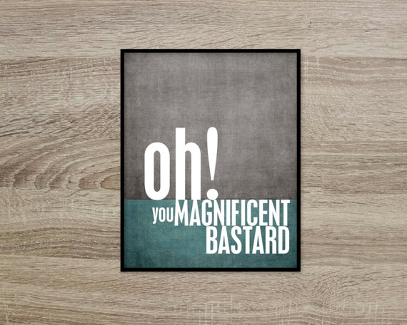 Magnificent Bastard Fathers Day Gift Charcoal Gray and Teal Blue- Silly Funny Quote Modern Print Grey Teal Blue - For Him Funny Valentine