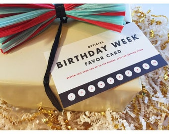 Official Favor Card: Birthday Week - Set of 3