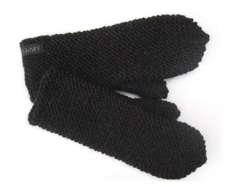 Black Alpaca Wool Mittens