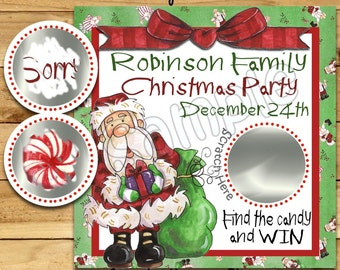 Christmas Party Scratch Off Game Cards Happy Holidays Cute Santa Scratch Off Card Christmas scratch Game Family Party game 12 Precut Printed