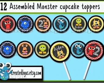 Monster Cupcake Toppers Monster Birthday Party Decorations Custom monster favors cupcake picks cake topper cupcake top 12 assembled