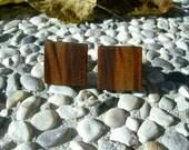 WOOD CUFFLINKS - Square Yellow PLUM Handcrafted Wooden Cufflinks