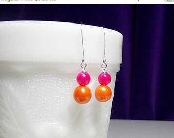 30% Off SALE thru Mon Hot Pink Orange Pearl Drop Earrings, Bridesmaid Christmas Wedding Mom Mother Sister Birthday Aunt Mothers Day Girlfrie