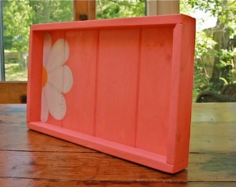 Free Shipping RECLAIMED PAINTED PINE  Rustic  One of a Kind Peek A Boo Serving Tray