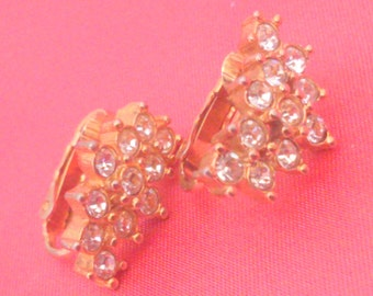 Vintage Gold Tone Clear Rhinestone Crescent Shaped Clip Earrings