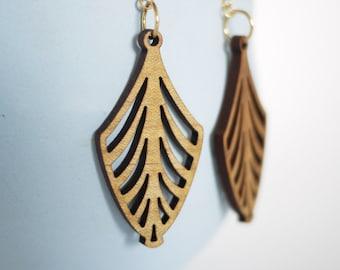 Laser cut wood midcentury modern earrings