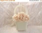 FALL SALE Blush Rose Flower Girl Basket Set and/or Ring Bearer Pillow  Blush Rose Blossom  Flower Girl Basket Blush Wedding