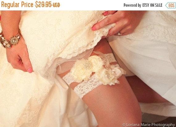 SUMMER SALE Garter, Wedding Garter Set Toss Garter included  Ivory with Rhinestones and Pearls  Custom Wedding colors Vintage Wedding Garter