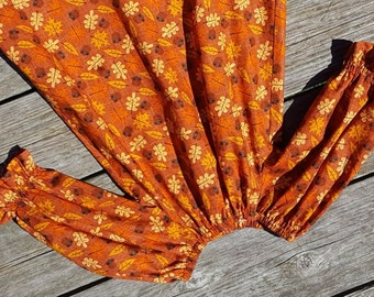 Fall Girl's Infants Toddlers Harvest Leaves and Acrons Peasant Dress