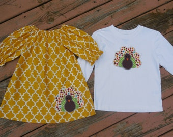 Fall Brother and Sister Matching Outfits - Girl's Mustard Quatrefoil Peasant Dress with Brother Turkey Applique shirt