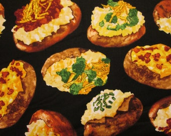 Baked Potatoe Potatoes Spuds Toppings Cotton Fabric Fat Quarter or Custom Listing