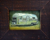 Mini Airsteam oil painting, retro summer travel decor