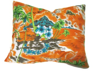 Orange Blue Green Tropical Print Pillow Cover