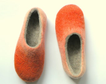 handfelt wool slippers Pumpkin