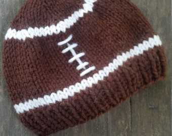 RTS 0-3 month Football Hat / Knit Football Hat / Photo Prop / Knit Photo Prop / Baby Gift / Shower Present