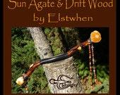 Balance, on Tribal Art, Sun Agate & Driftwood Wand, For Wanda.