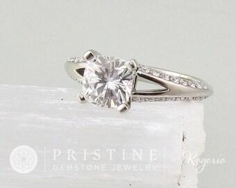Moissanite Engagement Ring Split Shank Diamond Accented Engagement Ring Weddings Anniversary Square Cushion
