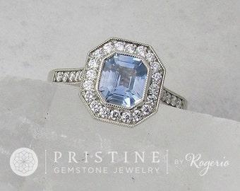 Bezel Set Diamond Halo Engagement Ring Semi-Mount Centre Stone Sold Separately Weddings Anniversary