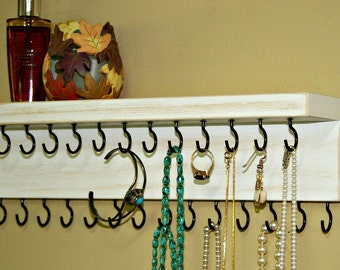 Jewelry Holder/ Necklace Holder/ Jewelry Wall Organizer/ Necklace Storage/ Shabby