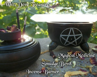 Pentacle Smudge Bowl - Incense Burner + Charcoal Discs - Black Pentagram Cauldron - Altar Spell Wicca Witchcraft Magic Medicine Ritual