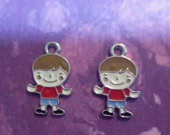 New 2 Cute Boy Child Charm Pendant