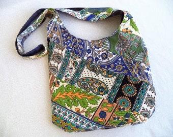 Bohemian sling bag made from India tapestry scraps/ Handmade One of a Kind hobo bag/ boho hippie elephant bag