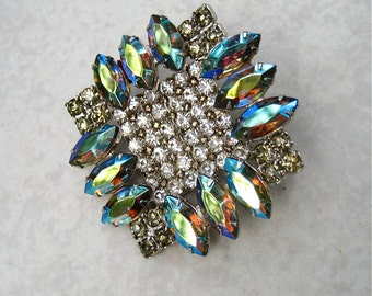 Vintage Rhinestone Brooch Aurora Borealis Navette Crystal Prong Set 3D Unsigned Kramer