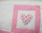 Doll quilt and pillow,  pink and white, hearts with rosebuds, doll blanket