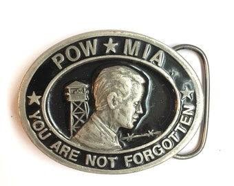 1987 POW MIA You Are Not Forgotten Belt Buckle by C+J Inc