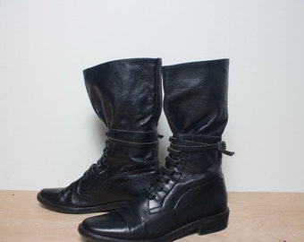 40% off Sale 7 M | Women's Vintage Ankle Boots Black Leather Buckle Strap by Anne Klein