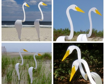 SET of 2 White Swirling Birds. A PAIR of whimsical kinetic PVC birds that swirl and bob up and down with the slightest breeze.