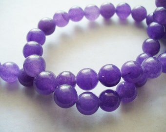 Jade Beads Gemstone Purple Round 8MM
